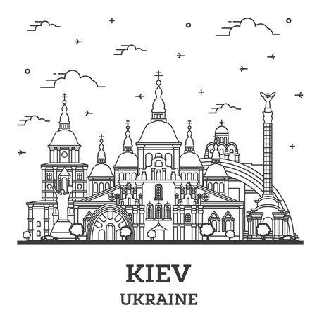 Outline Kiev Ukraine City Skyline with Historic Buildings Isolated on White. Vector illustration. Kiev Cityscape with Landmarks.