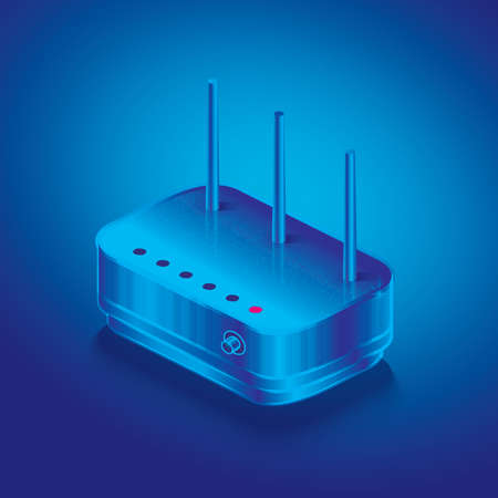 Isometric Network Router. Vector Illustration. Outline Wifi Wireless Router with Antennas. 向量圖像