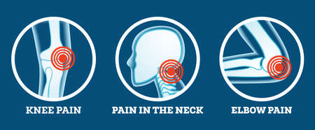 Body Pain. Icons Set. Pain in Knee, Neck and Elbow. Woman's and Man's Body Parts. Vector Illustration.