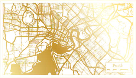 Perth Australia City Map in Retro Style in Golden Color. Outline Map. Vector Illustration.