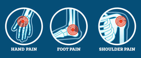 Body Pain. Icons Set. Pain in Hand, Foot and Shoulder. Woman's and Man's Body Parts. Vector Illustration. Vectores