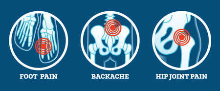 Body Pain. Icons Set. Pain in Foot, Backache and Hip Joint. Woman's and Man's Body Parts. Vector Illustration. Vectores