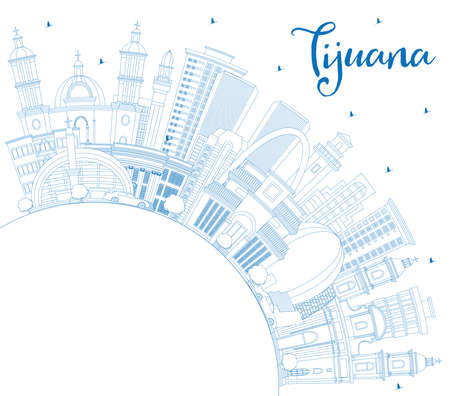 Outline Tijuana Mexico City Skyline with Blue Buildings and Copy Space. Vector illustration. Tourism Concept with Historic and Modern Architecture. Tijuana Cityscape with Landmarks. Ilustración de vector