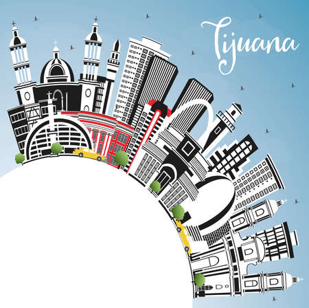 Tijuana Mexico City Skyline with Color Buildings, Blue Sky and Copy Space. Vector illustration. Tourism Concept with Historic and Modern Architecture. Tijuana Cityscape. Ilustración de vector