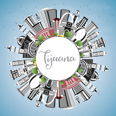 Tijuana Mexico City Skyline with Color Buildings, Blue Sky and Copy Space. Vector illustration. Tourism Concept with Historic and Modern Architecture. Tijuana Cityscape.