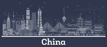 Outline China City Skyline with White Buildings. Vector Illustration. Business Travel and Tourism Concept with Historic Architecture. China Cityscape with Landmarks. Vector Illustration
