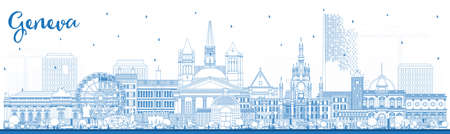 Outline Geneva Switzerland City Skyline with Blue Buildings. Vector Illustration. Geneva Cityscape with Landmarks. Business Travel and Tourism Concept with Historic Architecture.
