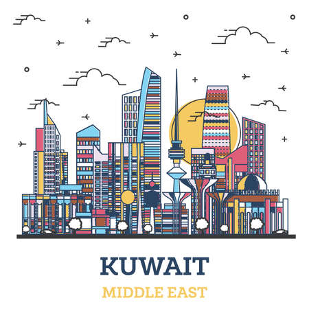 Outline Kuwait City Skyline with Colored Modern Buildings Isolated on White. Vector Illustration. Kuwait Cityscape with Landmarks.