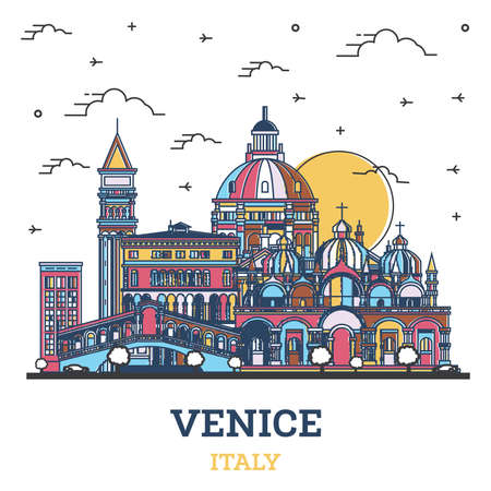Outline Venice Italy City Skyline with Colored Historic Buildings Isolated on White. Vector illustration. Venice Cityscape with Landmarks. Vettoriali