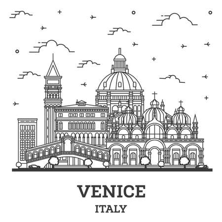 Outline Venice Italy City Skyline with Historic Buildings Isolated on White. Vector illustration. Venice Cityscape with Landmarks.