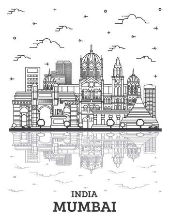 Outline Mumbai India City Skyline with Historic Buildings and Reflections Isolated on White. Vector Illustration. Bombay Cityscape with Landmarks.