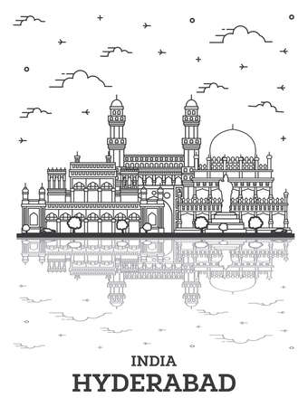 Outline Hyderabad India City Skyline with Historical Buildings and Reflections Isolated on White. Vector Illustration. Hyderabad Cityscape with Landmarks. Vetores