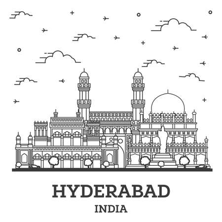 Outline Hyderabad India City Skyline with Historical Buildings Isolated on White. Vector Illustration. Hyderabad Cityscape with Landmarks.