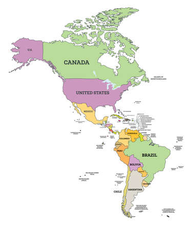 South and North America Political Map in Mercator Projection. Vector Illustration. Map with Name of Countries Isolated on White.