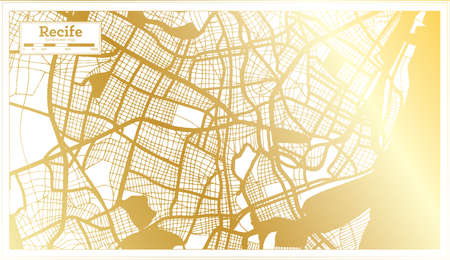 Recife Brazil City Map in Retro Style in Golden Color. Outline Map. Vector Illustration.