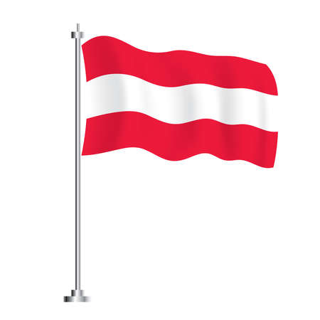 Austrian Flag. Isolated Wave Flag of Austria Country. Vector Illustration. Independence Day.