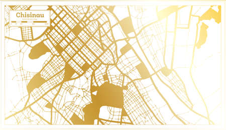 Chisinau Moldova City Map in Retro Style in Golden Color. Outline Map. Vector Illustration.