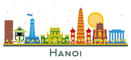 Hanoi Vietnam City Skyline with Color Buildings Isolated on White. Vector Illustration. Business Travel and Tourism Concept with Historic Architecture. Hanoi Cityscape with Landmarks.
