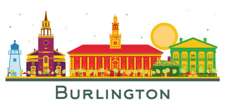 Burlington Vermont USA City Skyline with Color Buildings Isolated on White. Vector Illustration. Business Travel and Tourism Concept with Historic Architecture. Burlington Cityscape with Landmarks.