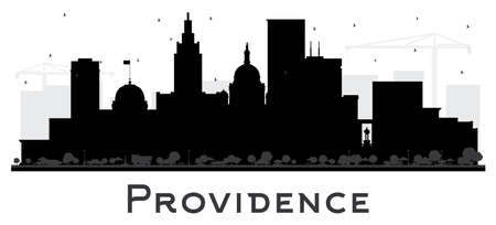 Providence Rhode Island City Skyline Silhouette with Black Buildings Isolated on White. Vector Illustration. Providence USA Cityscape with Landmarks. Business Travel and Tourism Concept with Modern Architecture. Vektorové ilustrace