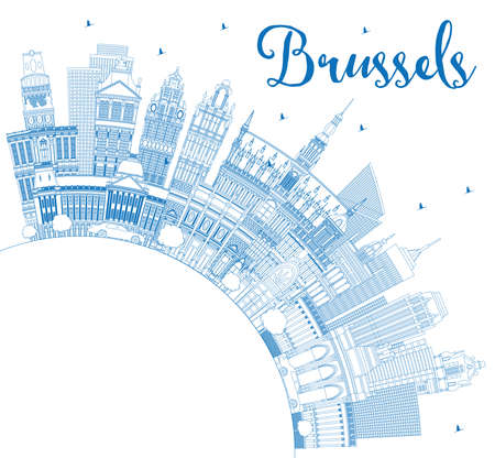 Outline Brussels Belgium City Skyline with Blue Buildings and Copy Space. Vector Illustration. Brussels Cityscape with Landmarks. Business Travel and Tourism Concept with Historic Architecture.