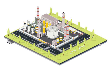 Isometric Refinery Plant with Tubes. Oil Petroleum industrial Zone with Infrastructure Elements. Vector Illustration. Factory Area with Oil Tanks.