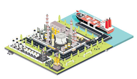Refinery Plant. Oil Tank Farm. Maritime Port with Oil Tanker Moored at an Oil Storage Silo Terminal. Oil Petroleum Industry. Isometric Concept. Vector Illustration. Industrial Sea Port.