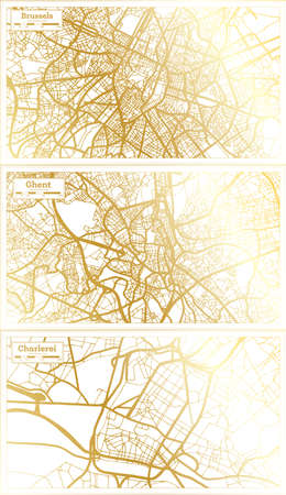 Ghent, Charleroi and Brussels Belgium City Map Set in Retro Style in Golden Color. Outline Map.