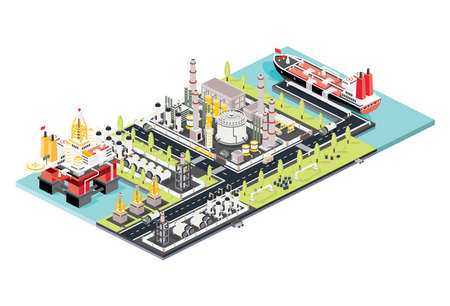Refinery Plant. Isometric Oil Tank Farm. Offshore Oil Rig. Maritime Port with Oil Tanker Moored at an Oil Storage Silo Terminal. Oil Petroleum Industry. Vector Illustration. Industrial Sea Port. Vetores