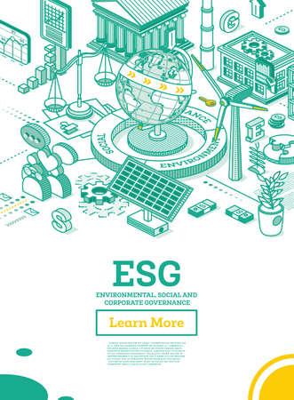 ESG Concept of Environmental, Social and Governance. Globe Model of the Earth. Vector Illustration. Sustainable Development. Isometric Outline Concept. Green Color. Alternative Energy. Vecteurs