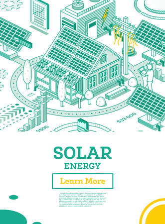 Solar Energy Panels on the Roof of House. Renewable Green Energy Isometric Concept Isolated on White Background. Vector Illustration. Sustainable Ecological Power Generation of Clean Energy.