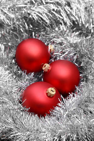 christmas balls on tinsel