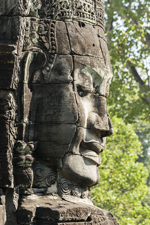 angkor thom: Carved Head At Bayon Temple, Angkor Thom, Cambodia