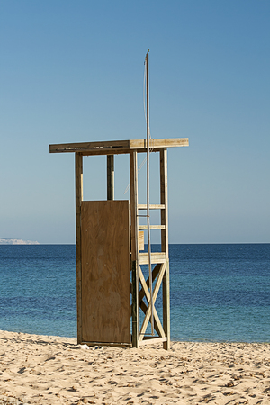 A lifegaurd chair on a beach in Mallorca, Spain photo