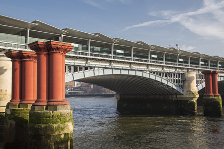 blackfriars bridge: Blackfriars Bridge now forms part of a railway station  over the River Thames in London