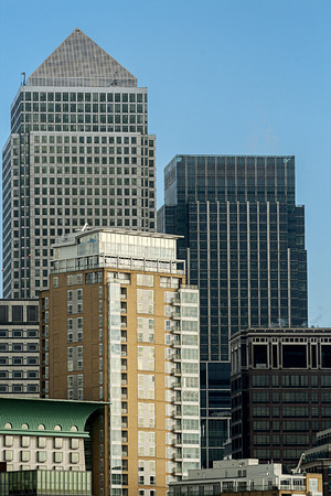 Canary Wharf, the financial heart of London pictured against a clear blue sky photo