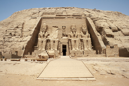 The Abu Simbel temples are two massive rock temples in Abu Simbel  in Nubia photo
