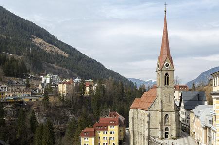 tauern: The Preimskirche in the centre of Bad Gastein in the Austrian Alps Stock Photo