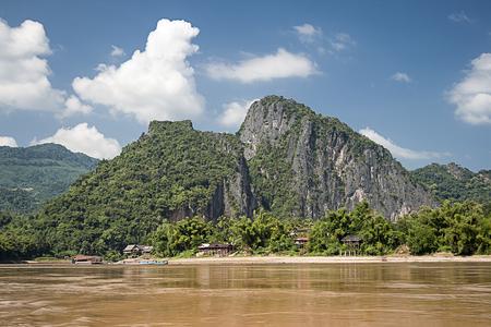 ou: Mekong River At Pak Ou Caves, Laos Stock Photo