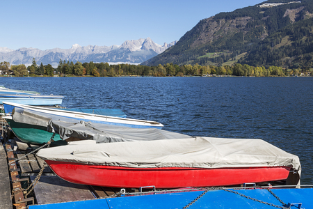 zell am see: Boats moored on Zeller See, Zell Am see, Austria Stock Photo