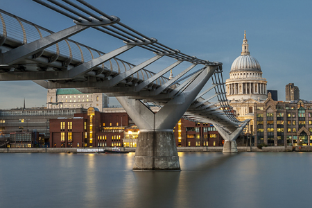 st pauls: Millenium Bridge and  St Pauls Cathedral Stock Photo