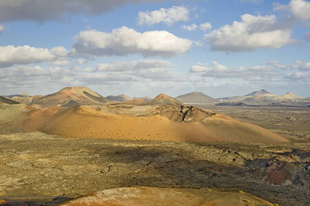 volcanic landscape: Volcanic landscape. Timanfaya National Park. Lanzarote, Canary Islands. Spain. Stock Photo