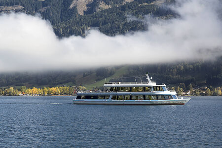 zell am see: A boat on Zeller See, Zell Am see, Austria Stock Photo