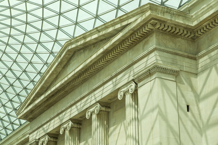 british museum: Modern glass and steel contrast with traditional architecture at the British Museum
