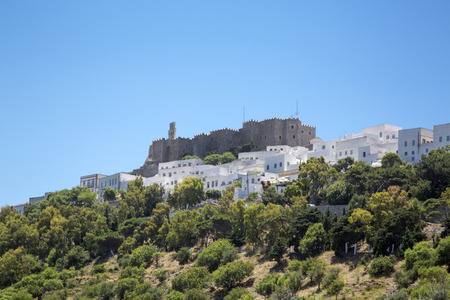 judgement day: The Chora and Saint John the Evangelist monastery at Patmos island in Greece Stock Photo