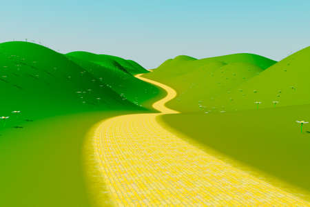 green and yellow: Yellow brick road Stock Photo