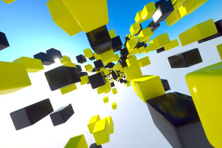 zoomed: Flying yellow and black blocks