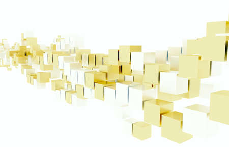 hundreds: Gold and silver cubes Stock Photo
