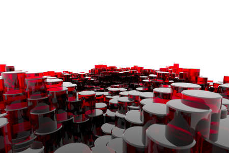 Red Glass Columns Stock Photo