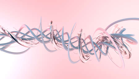 coiled: Twisting tubes on a pink background